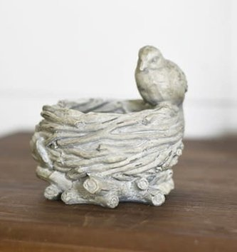 Vintage Gray Bird On Nest