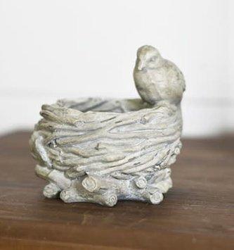 Vintage Gray Bird On Nest