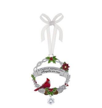 A Cardinal Appears Metal Wreath Ornament