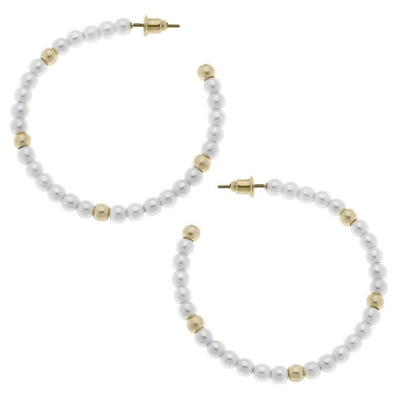 Pearl Allie Hoop Earrings
