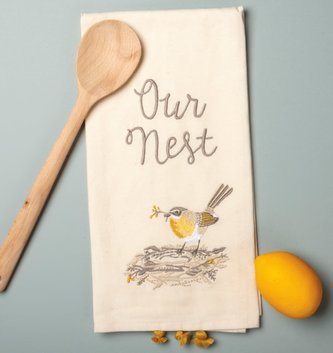 Embroidered Our Nest Bird Towel