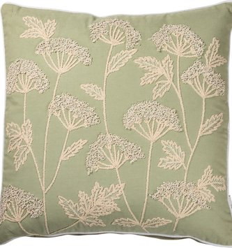 Embroidered Queen Anne's Lace Pillow