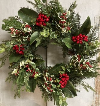 Holly & Berry Christmas Wreath