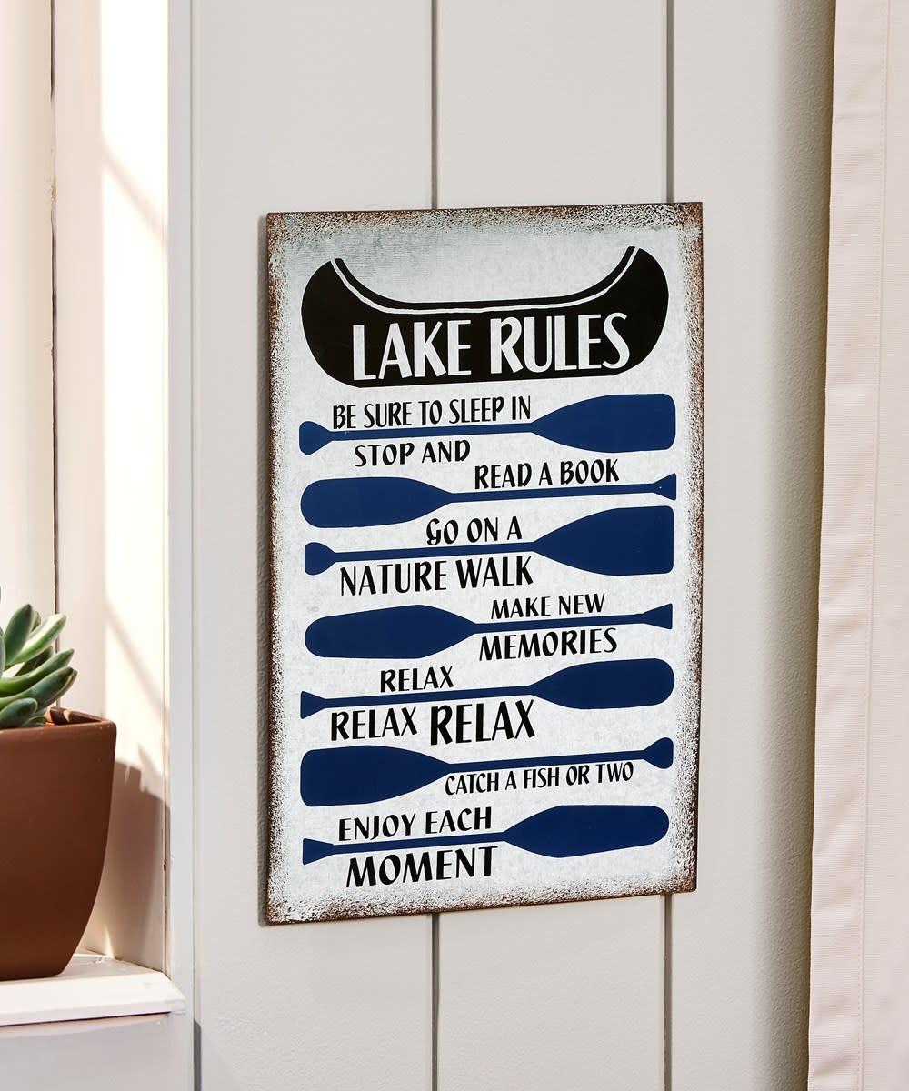 Lake Rules Galvanized Sign