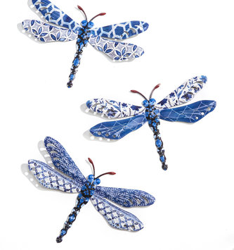 Eclectic Blue Patterned Metal Dragonfly (3-Styles)