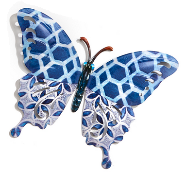 Medium Eclectic Blue Patterned Metal Butterfly (3-Styles)