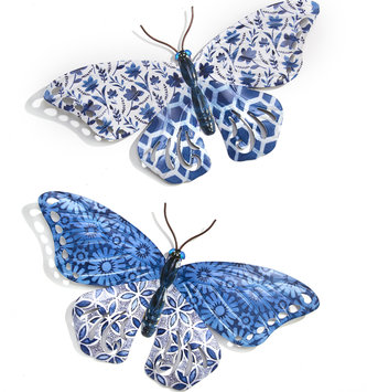 Large Eclectic Blue Patterned Metal Butterfly (2-Styles)