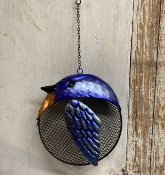 Metal Hanging Birdfeeder Blue Bird