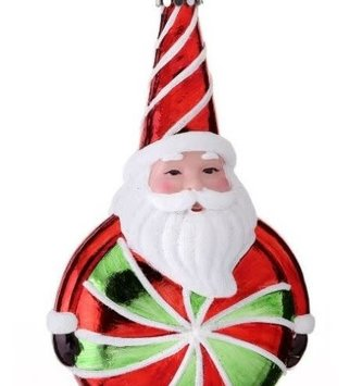 Peppermint Candy Santa Ornament