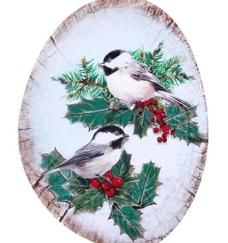 Oval Winter Chickadee Sign