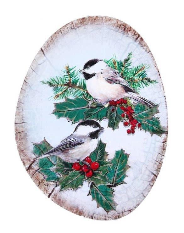 Oval Winter Chickadee Sign