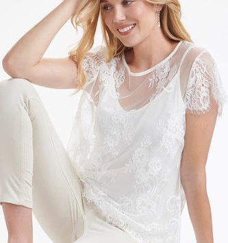 Crop Sleeve Lace Top w/ Camisole (2-Colors)