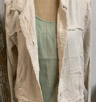 Charlie Paige Distressed Trim Linen Jacket (2-Colors)