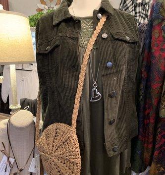 Charlie Paige Round Woven Natural Shoulder Bag