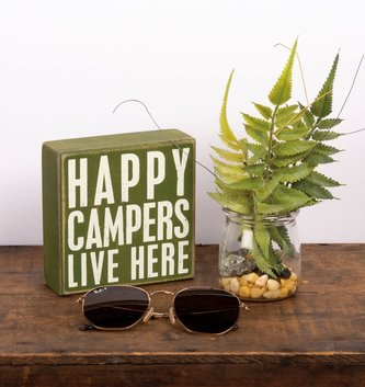 Happy Campers Block Sign