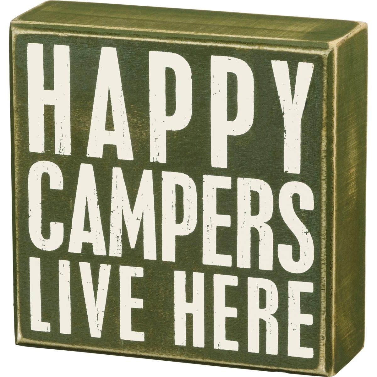 Happy Campers Block Sign