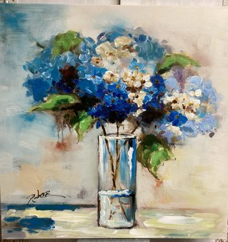 Shades of Blue Hydrangea Painted Canvas