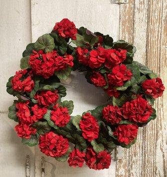 """24"""" Red Geranium Wreath"""