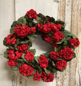 "24"" Red Geranium Wreath"