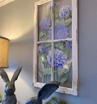 Hydrangea on Window Pane Wall Art