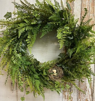 Custom Wild Fern & Bird Nest Wreath