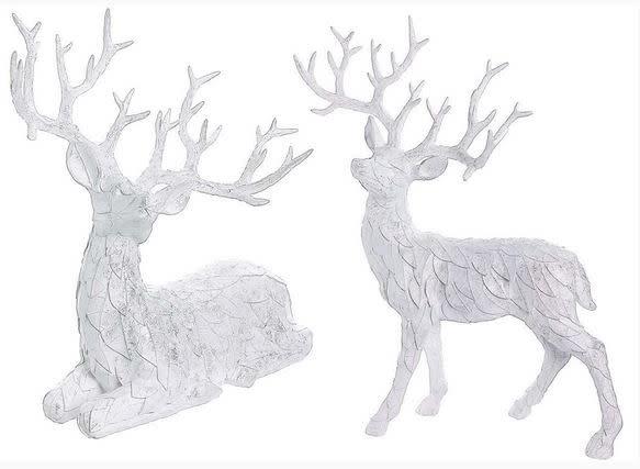 Set of 2 Shimmer Leaf Reindeer