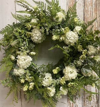 Custom Lace and Snowball Wreath