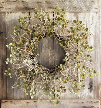 Birch Branch Wreath With Leaves