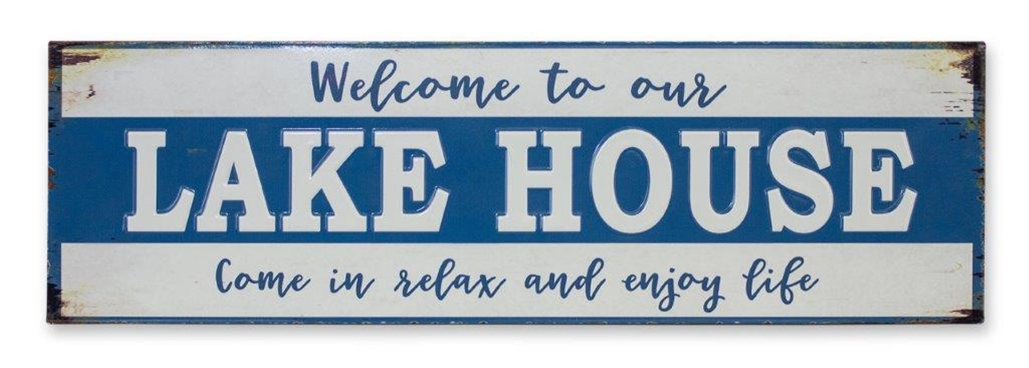 Distressed Metal Welcome To The Lake House Sign
