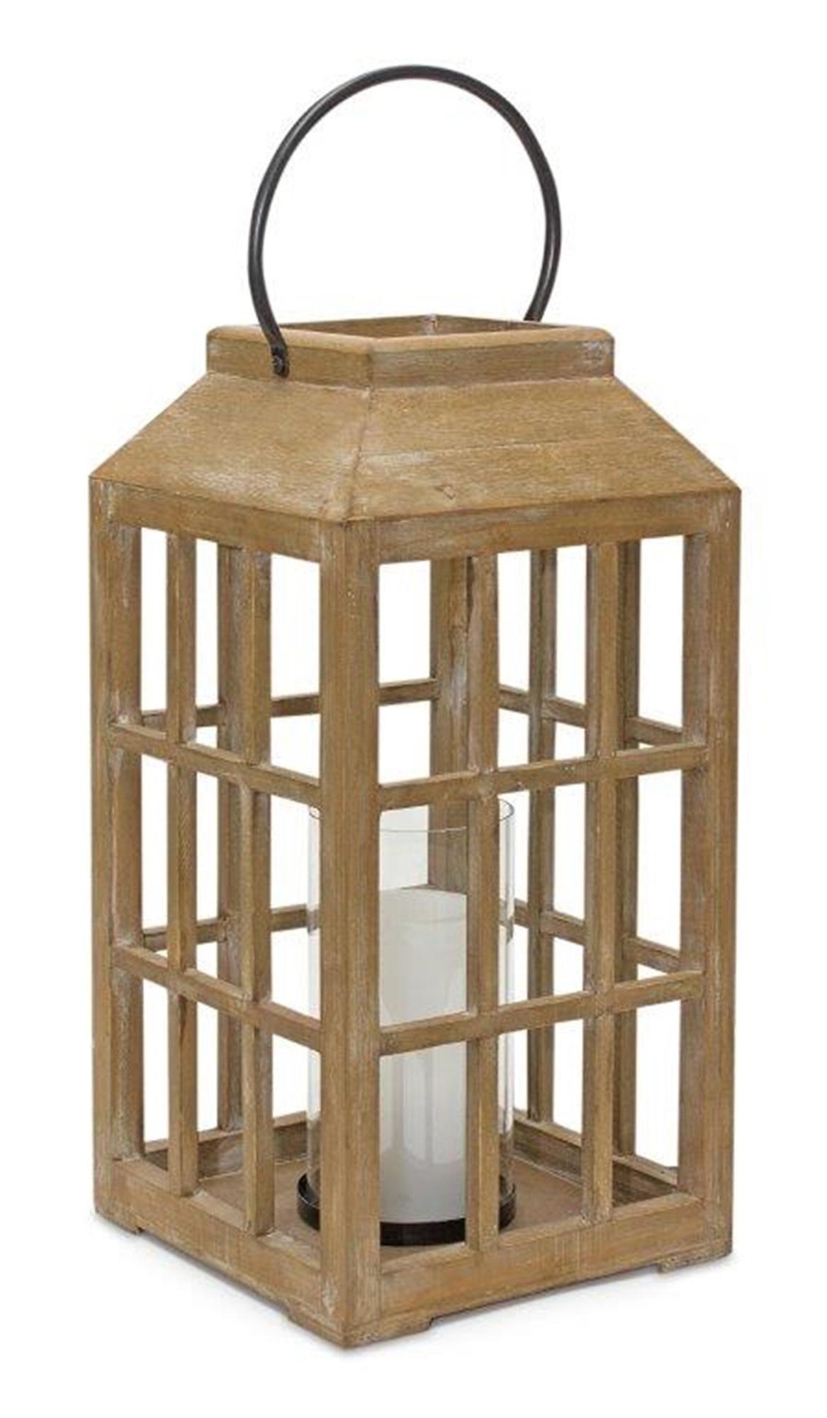 Wooden Window Pane Cylinder Lantern (2-Sizes)