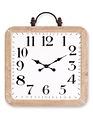 Distressed Square Metal Handled Clock