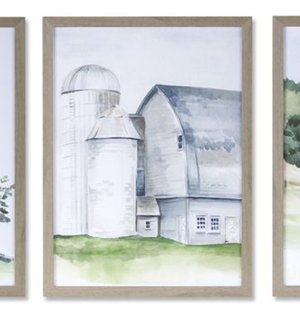 Framed Gray Barn Print (3-Styles)