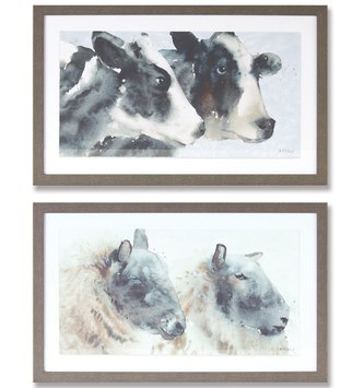 Rectangular Framed Barnyard Animal Print (2-Styles)