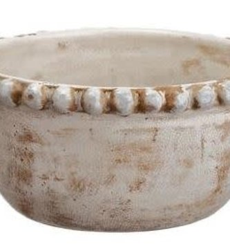 Beaded Distressed White Bowl