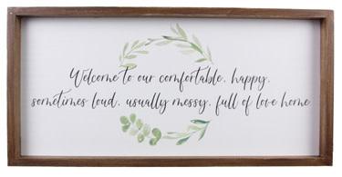 Wood Framed Happy Home Sign