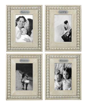 Whitewashed Beaded Frame (4-Styles)