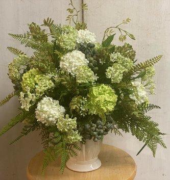 Custom Green & White Vibernum In Classic Container
