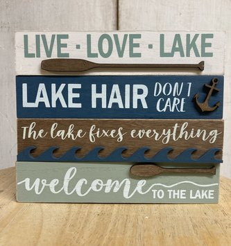 Lake Wooden Block Signs (4-Styles)