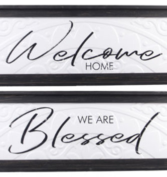 Rectangular Embossed Metal Framed Sign (2-Styles)