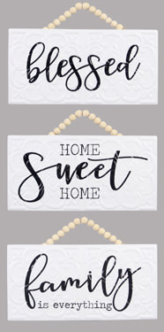 Embossed Metal Beaded Sign (3-Styles)