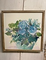Distressed Blue Bouquet Framed Print