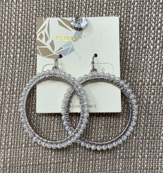 Silver Hoop Pearl Earrings