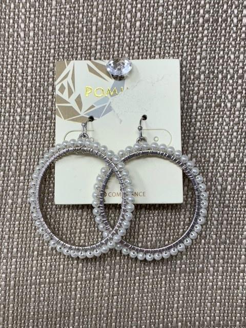Silver Hoop Pearl Earrings