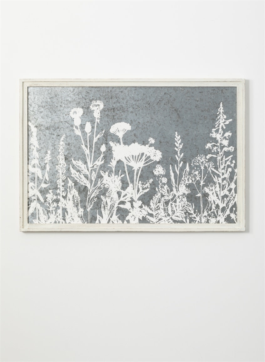 Framed Galvanized Queen Anne's Lace Print