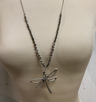 Gray Beaded Dragonfly Necklace Set