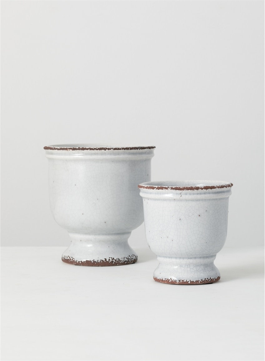 Light Gray Crackle Urn Container (2-Sizes)