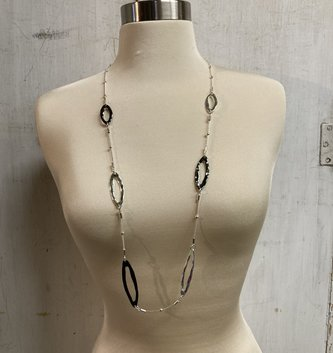 Silver Oval Beaded Necklace