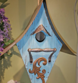 Hanging Blue Scroll Bird House