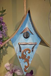 Hanging Blue Scroll Bird House