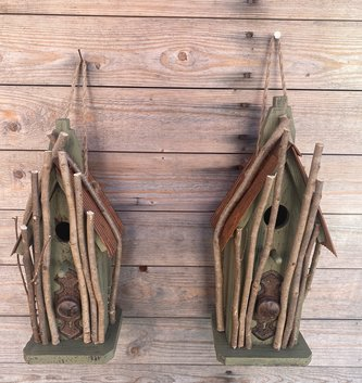 Rustic Twig Green Birdhouse (2-Sizes)
